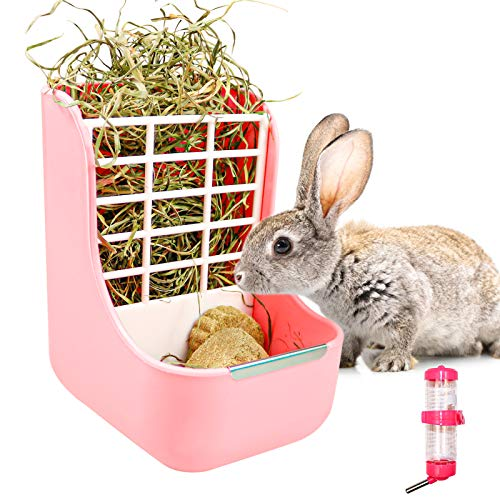 2 In 1 Kaninchen Heu Raufe Futterautomat, Kaninchen Zubehör Meerschweinchen-futternapf, Gras Und Futtermittelspender, Mit Nager Trinkflasche, Für Kaninchen, Meerschweinchen, Chinchilla, Hamster (Rosa)