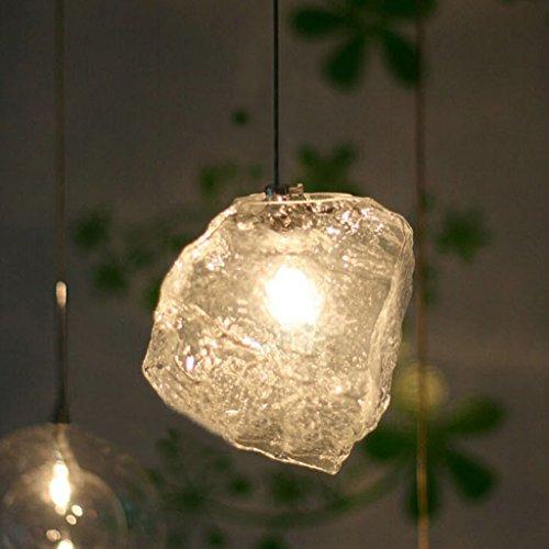 un lustre qui Forme de cube de glace G4 LED verre Technologie soufflé Matériel le fer rayon entrée Bar chambre salon A+ (Size : One)
