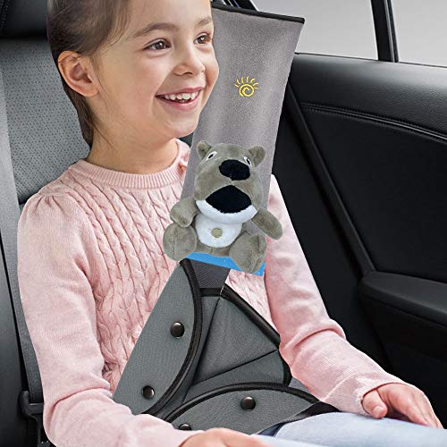 Seat Belt Adjuster and Pillow for Kids with Plush Toy, Soft Neck Support Headrest, Seatbelt Cover for Child, Car Seat Strap Shoulder Pad for Children and Short Adult (Gray-Dog)