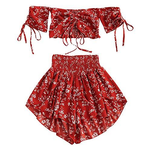 ZAFUL Damen Off Shoulder Cinched Floral Zweiteiler Schulterfrei Bauchfrei Kordelzug Kurzes Oberteil und Smocked Shorts Set(Rot,M)