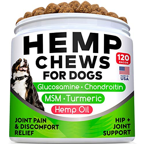 All-Natural Hemp Chews + Glucosamine for Dogs - Advanced Hip & Joint...