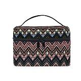 HaJie - Bolsa de maquillaje de gran capacidad, diseño retro tribal en zigzag azteca de viaje, portátil, neceser, bolsa de almacenamiento, bolsa de lavado para mujeres y niñas