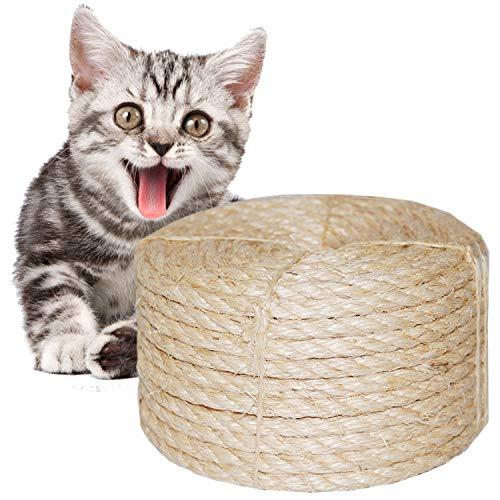 O'woda Natural Cuerda de Sisal Gatos 8mm, para Reemplazo Árbol Rascador para Gatos, Accesorios de Bricolaje Manualidades (Natural, 20M)
