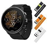 Suunto 7 GPS Sports Smartwatch, Matte Black Titanium with Wearable4U 3X Wristband Strap (Blk/Lime+Orange/Blk+White/Blk) Bundle