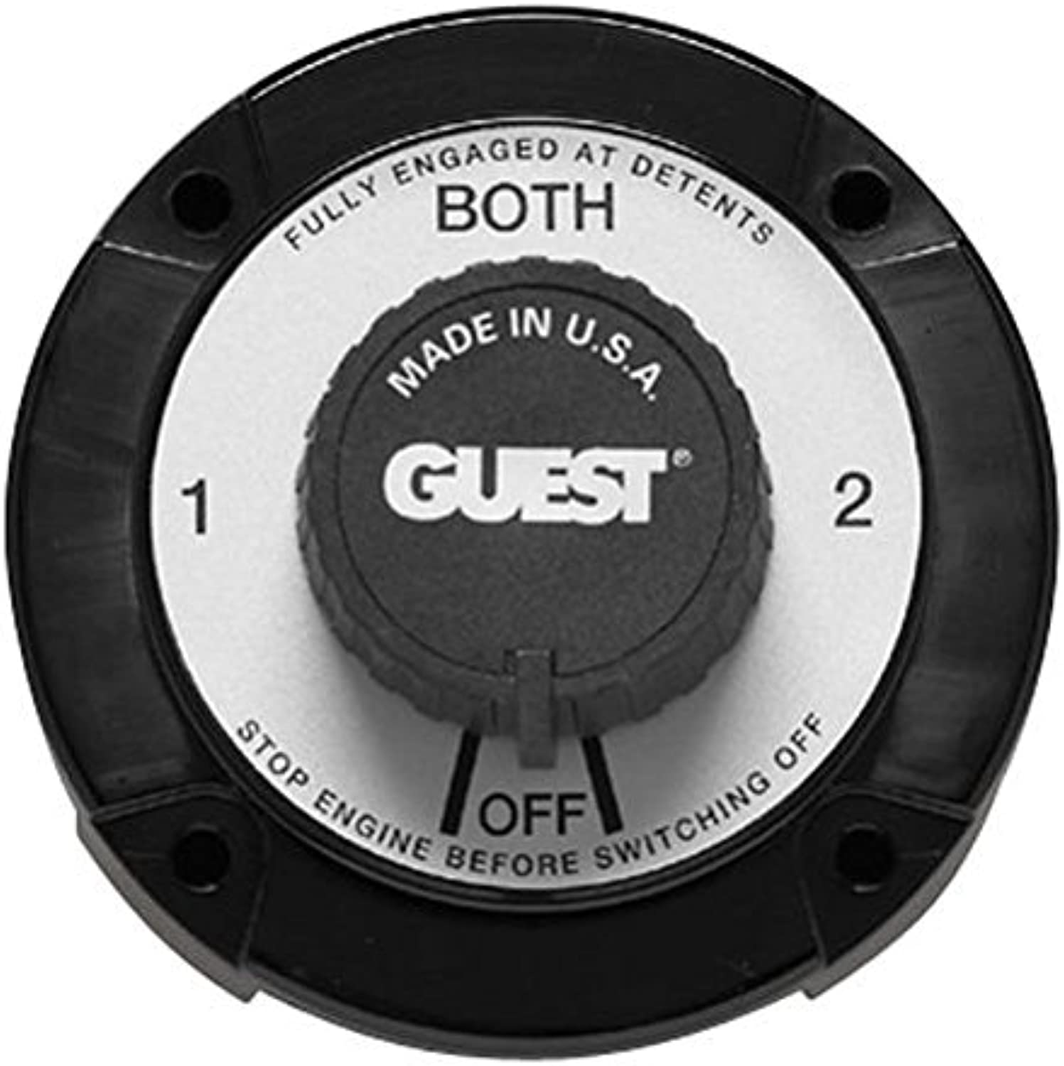 Guest 2110A Universal Mount Marine Battery Selector Switch With Alternator Field Disconnect (230 Continuous, 345 Momentary Amps)