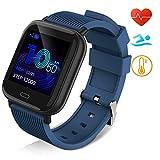 Huyeta Smartwatch Orologio Fitness Uomo Donna Pressione sanguigna Impermeabile IP67 Smart Watch Cardiofrequenzimetro da Polso Contapassi Smartband Activity Tracker Bambini Cronometro (Blu)