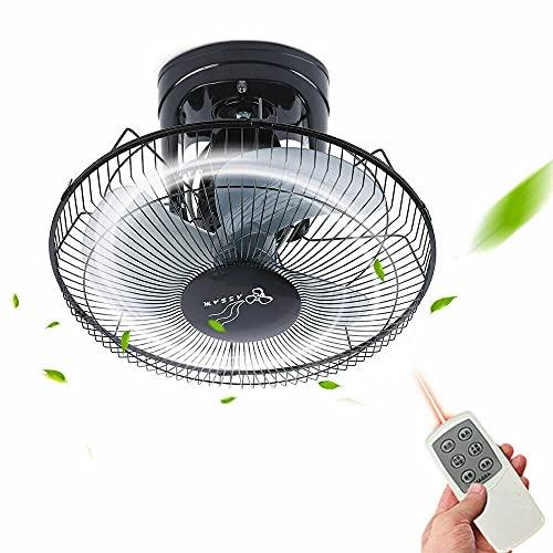 Ventilador de techo de 16 pulgadas con mando a distancia, 3 velocidades de viento, color negro, 60 W, para comedor, dormitorio, salón