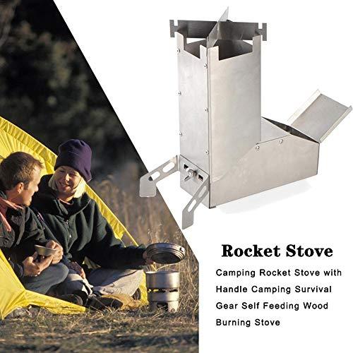 Ritapreaty Estufa de Camping Rocket Estufa Ligera de Acero Inoxidable con Mango, Equipo de Supervivencia Estufa de leña autoalimentada
