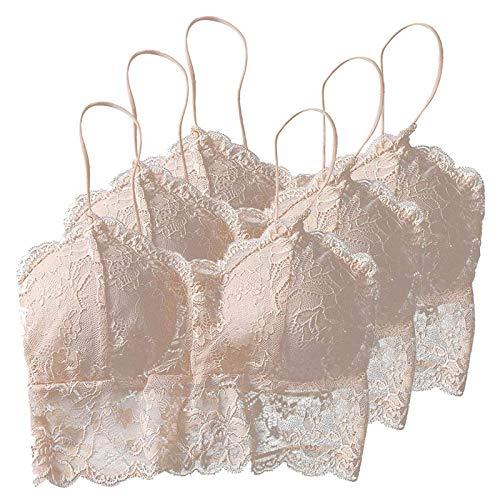 Pack de 3 sujetadores de encaje para mujer, con escote en V, sin costuras, con tirantes y almohadillas extraíbles, para mujeres y niñas, 5 colores, b, L
