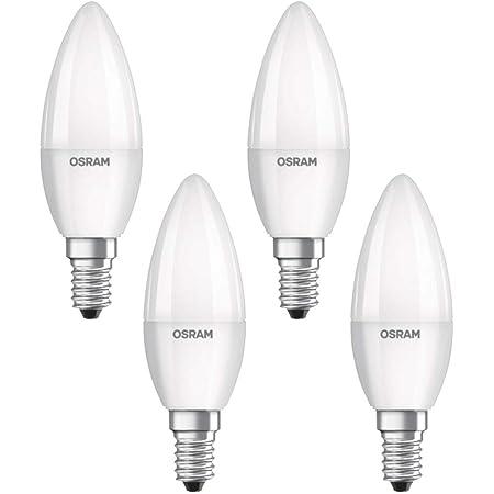 Osram Lampe LED Base Classic B, en forme de bougie avec douille E14, non dimmable, remplace 40 watts, mat, blanc froid - 4000 Kelvin, pack de 4