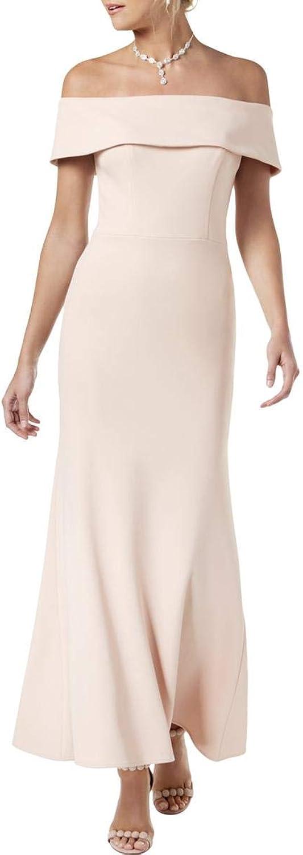 Betsy & Adam Womens Petites Crepe OffTheShoulder Evening Dress