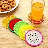 Greatangle-UK Posavasos de Silicona de Frutas Creativas, Antideslizante, Resistente al Calor, para Mesa de Centro, Estera para Tazas, Blanco + Rosa