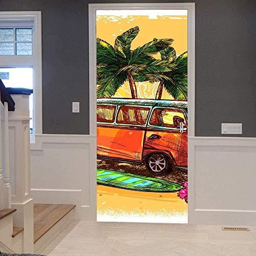 KEXIU 3D Coche de tabla de surf PVC fotografía adhesivo vinilo puerta pegatina cocina baño decoración mural 77x200cm