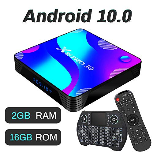 Android TV Box 10, 2GB RAM 16GB ROM Android 10 Compatible con 4K 3D H.265, RK3318 Dual-WiFi 2.4g / 5g Smart TV Box con Mini Teclado HDMI USB 3.0