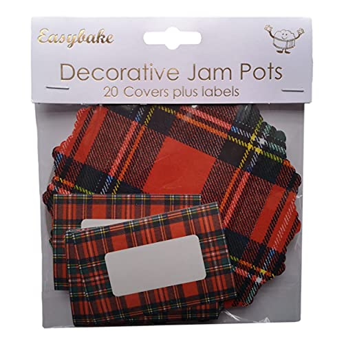 20 Tartan Jam Pot Covers, Wax Discs, Rubber Bands and Self-Adhesive Labels