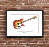 1964 Rickenbacker 360/12 Guitarra Cartel del Arte tamaño A2 de George Harrison
