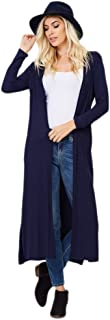 Annabelle Women's Comfy Long Sleeve Open Front Maxi Cardigan Longline Duster Coat with Pockets