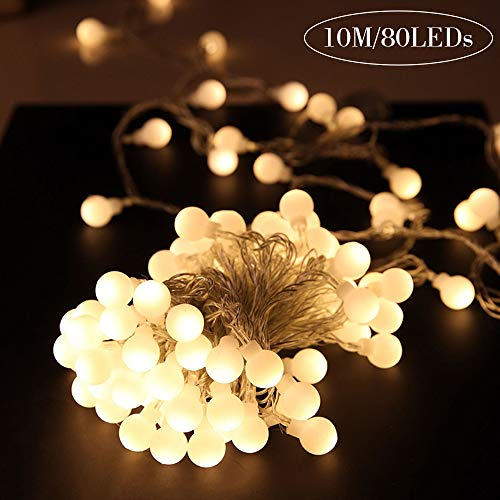 Aookey Lichterkette 10 m 80 LED Glühbirne Lichterkette Warmweiß,LED Globe Lichterkette,Wünderschöne-Deko für Weihnachten,Hochzeit, Party, Zuhause sowie Garten, Balkon, Terrasse, Fenster, Treppe, Bar