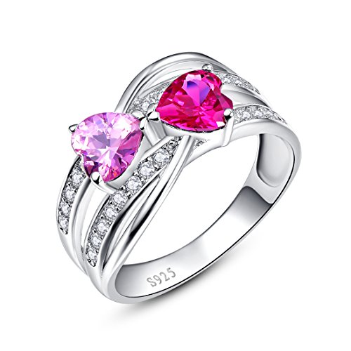 Merthus 925 Sterling Silver Ring, Synthetic Ruby & Pink Topaz Heart Couple Engagement Wedding Band Ring Size 8