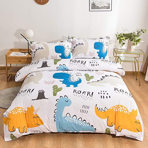 Juego de funda de edredón de 3 piezas con diseño de dinosaurio y 2 fundas de almohada para niños y adolescentes (Dinosaurio, individual)
