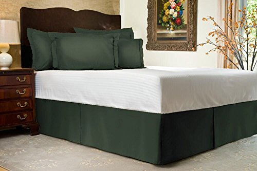 Tailored Bed Skirt - 14 inch Drop, King, Hunter Green Bedskirt with Split Corners (Available in and 16 Colors) Blissford