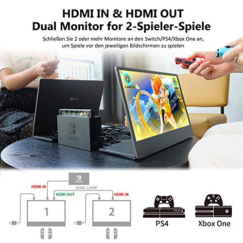 GeChic Tragbarer Monitor Gaming Portable Monitor 15,6 Zoll On-Lap M505E mit HDMI IN/HDMI Out/USB Typ-C kompatibel mit Switch/PS4/XBOX ONE/MacBook/Handy VESA 100-Wandmontage