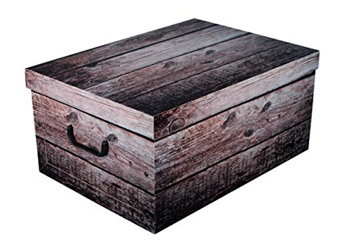 XXL Dekokarton SHABBY WOOD in schöner, grauer Holzoptik - Tolles Motiv, passt in jeden Haushalt! Edel und hochwertig! Mit Griffen zum Tragen und XXL Volumen!