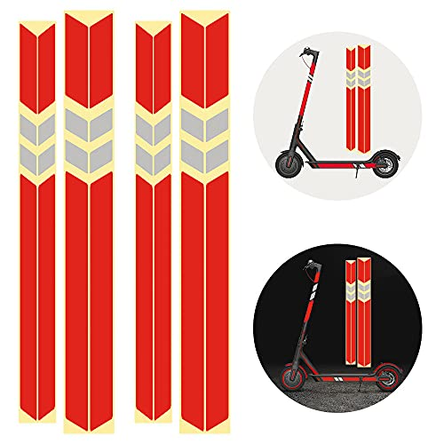 PERFETSELL Kit Pegatinas Reflectantes para Xiaomi Mijia M365 Scooter Eléctrico 2 pcs Pegatinas Patinete m365 para Cuerpo Lateral 2 pcs Sticker Patinete Xiaomi para la Barra, Pegatinas Reflectante Rojo