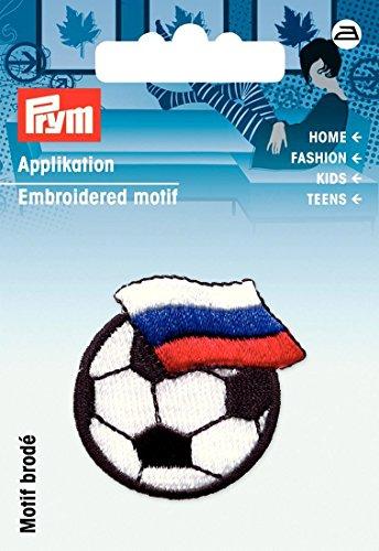 Prym Fußball mit Russland Flagge Bügelbild Aufnäher Motiv Mischgewebe, Polyester, Schwarz/Weiß