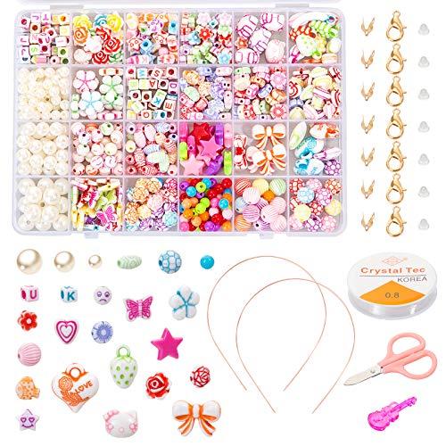 Naler Conjunto de Abalorios Perlas Colores Cuentas Plásticas de 24 Estilos para DIY Pulseras Collares Bisutería Regalo Infantil