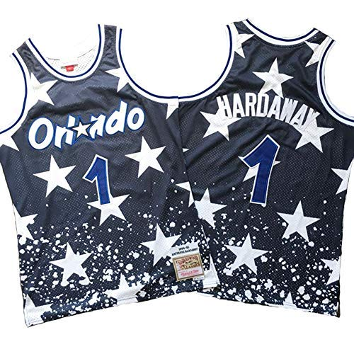 BMY Men's Jersey NBA Magic #1 Hardaway Orlando Vintage All-Star Jersey, Cool Breathable Fabric, Unisex Basketball Fan Sleeveless Sport Vest Top,XXL:190cm/95~110kg