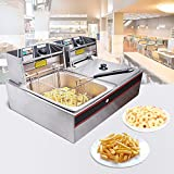 Yescom Commercial Electric Deep Fryer 20L Frying Double Basket Chip Fryer Cooker