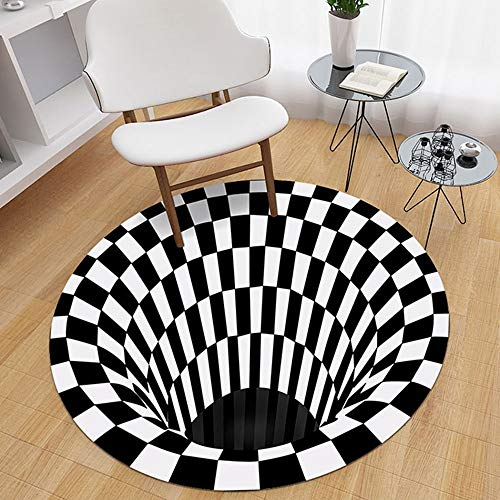 Ajcoflt 3D Space Round Carpet, Checkered Vortex Optische Täuschungen Rutschfester Teppich Anti-Rutsch-Bodenmatte Vlies Schwarz-Weiß-Fußmatte, für Wohnzimmer Esszimmer Schlafzimmer Küche