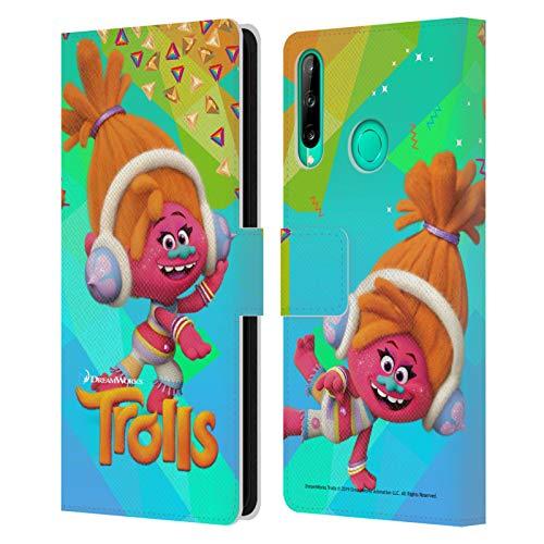 Head Case Designs Licenciado Oficialmente Trolls DJ Suki Pack Snack Carcasa de Cuero Tipo Libro Compatible con Huawei P40 Lite E
