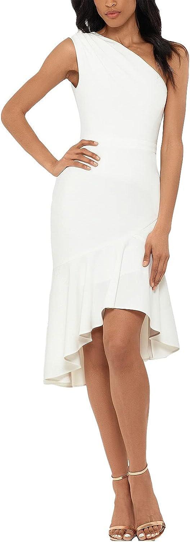 Xscape Petite One-Shoulder Flounce Dress, Ivory 10P