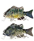 Sunrise Angler 4 Inch Bluegill Jointed Swimbait   Sinking Hard Bait Fishing Lure for Freshwater Game Fishing with Textured Lifelike Skin, Curvy 'S' Swim and 3D Prismatic Eyes (Green Combo A)