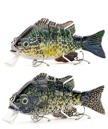 Sunrise Angler 4 Inch Bluegill Jointed Swimbait | Sinking Hard Bait Fishing Lure for Freshwater Game Fishing with Textured Lifelike Skin, Curvy 'S' Swim and 3D Prismatic Eyes (Green Combo A)