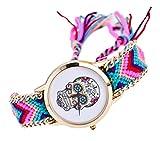 La vogue Relojes de Cuarzo Redondo Trenzado Tejido a Mano (Calavera #2)