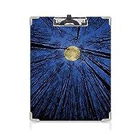 クリップボード A4 森の家の装飾 学用品A4 バインダー 森の満月のイルミネーションスターナイトヘヴンリールナツリートップスアップスペースアート A4 タテ型 クリップファイル ワードパッド ファイルバインダー 携帯便利ブルー