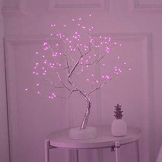 Luz del Arbol de Los Bonsais, SUNJULY LED USB 3D Lámpara de Mesa con Adaptador de Corriente Enchufable Para el Hogar Holiday Holiday Habitación Interior para Niños, Rosa