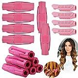 Rulos Para el Pelo Grandes Suave Esponja, 12 Piezas Rodillos de Pelo Styling Kit con 4 Volumen de Raíz de Pelo Pinza,...