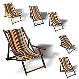 Printalio - Streifen - Liegestuhl Bedruckt Balkon Garten Sonnenliege Relax Holz Terrasse | mit Armlehne, Dunkelbraun