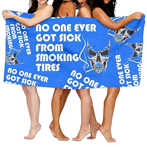 YUYUTE Toallas de Playa para Mujeres Hombres No One Ever Got Sick from Smoking Tires Unisex Eco-Friendly Fast Dry Towels Extra Large Bath Beach Towels
