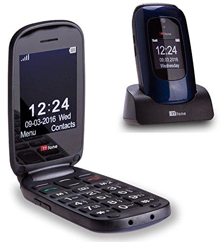 Cellulare a conchiglia e tasti larghi facile da utilizzare e sim free TTfone Lunar (Blu)