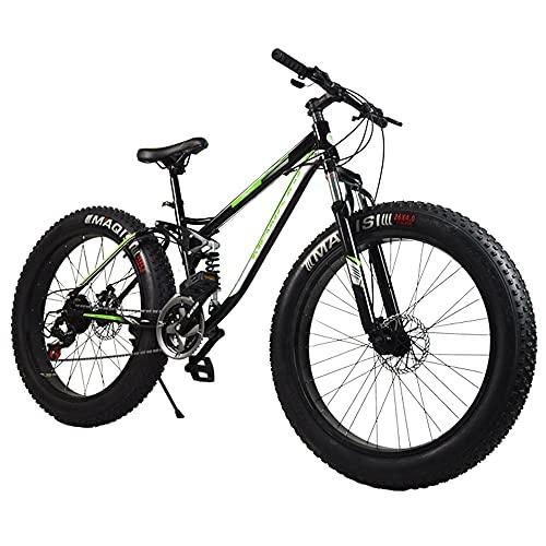 "Bicicleta de montaña, Cuadro de Acero con Alto Contenido de Carbono, neumáticos ensanchados de 26""x 17"", 21 velocidades Bicicleta Todo Terreno, Ciclo de MTB con Doble suspensión y Freno de Disco"