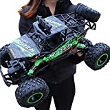 Large Scale RC Car 1:12 Off Road Monster Truck Crawler with Head Lights, 4WD All Terrains Remote Control Car Vehicle with Rechargeable Battery for Kids Adults