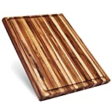 Extra Large Reversible Teak Wood Cutting Board: 23x17x1.5in with Juice Groove (Gift Box Included) by...
