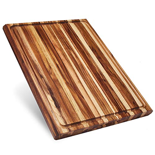 Sonder Los Angeles, XXL Thick Teak Wood Cutting Board with Juice Groove, 23x17x1.5 in Large (Gift Box Included)