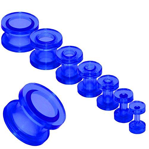 Acrílico Transparente Tunnelset Túnel Taper Dilataciones Expansor Dilatador Pendientes Piercing Kit Set Oreja Ø 2-12mm, variante:azul oscuro