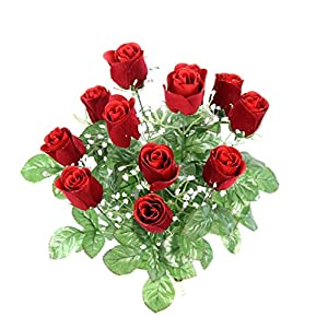Admired By Nature GPB8377-RED 12 Stems Artificial Velvet Rose Buds, Red